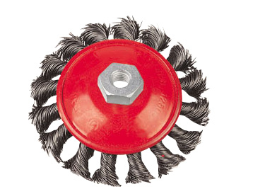Bevel twisted wire brush